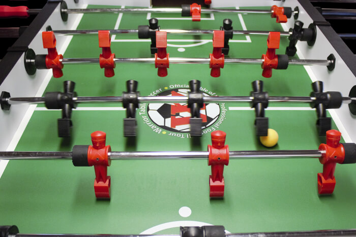 Warrior foosball table game in action